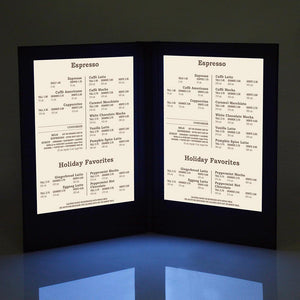 Yescom LED Back Lit Folded Menu Holder Dual Page 8.5x14in