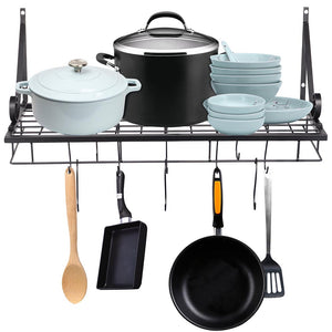 Yescom Wall Mounted Pots and Pans Rack 24 Inch w/ 10-Hook