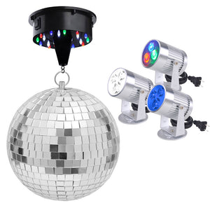 Yescom 12in Mirror Disco Ball DJ Light Set Optional Color