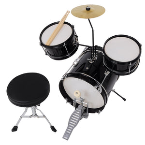 Yescom Junior Kids Drum Set Black w/ Cymbal Drum Throne 3pcs 12inch