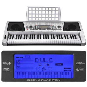 Yescom Music Electronic Keyboard 61 Keys Instrument Silver