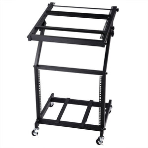 Yescom 19in 9U Stage Rolling Audio Mixer Stand Rack Cart w/ 4 Poles