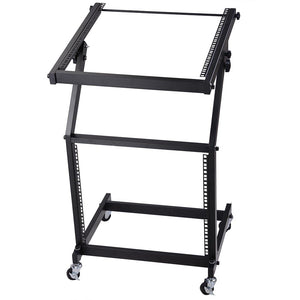 Yescom 19in 9U Space Rolling Audio Mixer Stand Cart Rack Mount