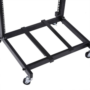 Yescom 19in 12U Stage Rolling Audio Mixer Stand Rack Cart w/ 4 Poles