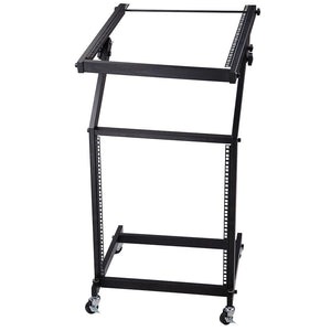 Yescom 19in 12U Space Rolling Audio Mixer Stand Cart Rack Mount