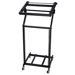 Yescom 19in 16U Stage Rolling Audio Mixer Stand Rack Cart w/ 4 Poles