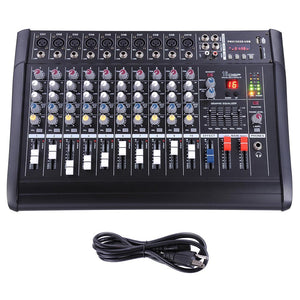 Yescom Music Powered Audio Mixer/Amplifier Club 10 Channels