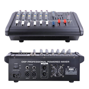 Yescom Music Powered Audio Mixer/Amplifier Club 6 Channels