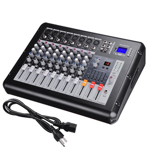 Yescom Music Powered Audio Mixer/Amplifier DSP USB 8 Channels