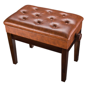 Yescom Piano Bench Leather Seat Adjustable-Height w/ Storage Brown