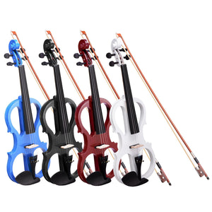 Yescom 4/4 Full Size Electric Violin Bow Headphone Case Set Color Opt