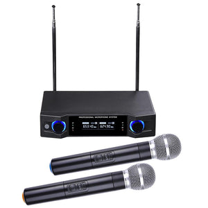 Yescom 2-Channel UHF Wireless 1 Pair Handheld Microphone System