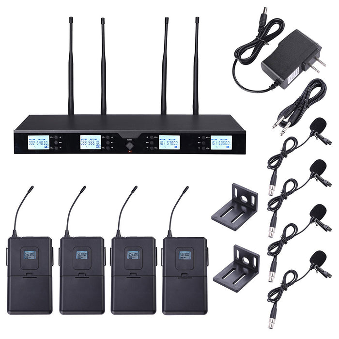 Yescom Pro 4 Channel 262' Wireless UHF Microphone System 4 Lapel Mics