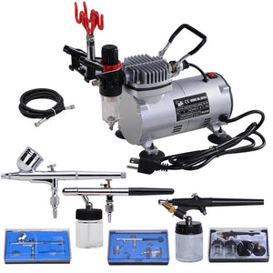 Yescom Dual/Single Action Airbrush Kit Air Compressor w/ Tank