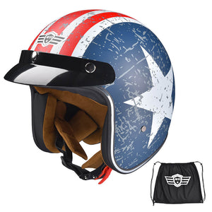 DOT Motorcycle Helmet Open Face with Visor American Flag