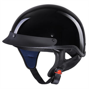 Glossy Black Chopper Motorcycle Helmet Half Open Face DOT Size Opt