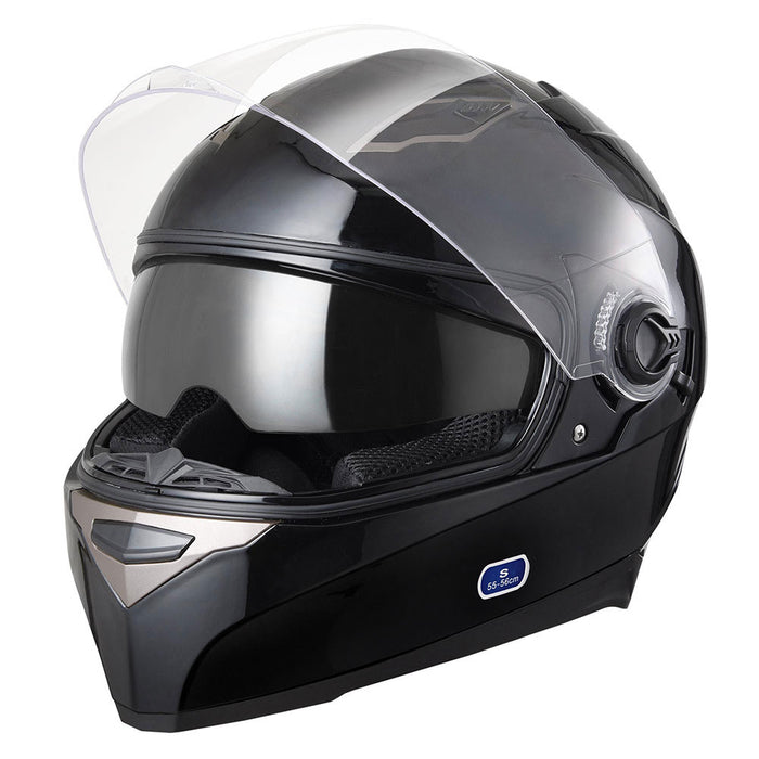 DOT Motorcycle Helmet Full Face Dual Visors Black