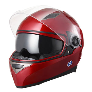 DOT Motorcycle Helmet Full Face Dual Visors Red