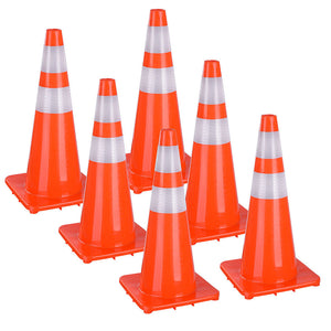 Yescom 6pcs 28-In Road Traffic Safety Cones Reflective Collar