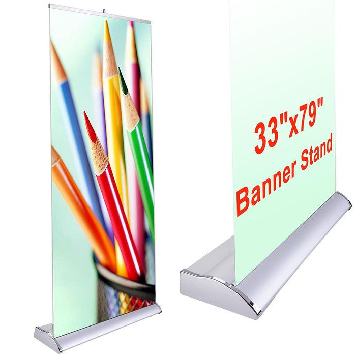 "Yescom Curved Base Trade Show Retractable Banner Stand 33"" x 79"""