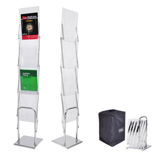 Yescom Collapsible Literature Stand Brochure Rack 4 Pocket w/ Bag