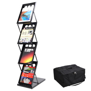 Yescom Collapsible Literature Rack Display Stand 4 Pocket w/ Bag