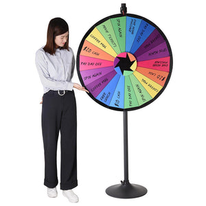 "WinSpin 36"" 18 Slot Colorful Dry Erase Prize Wheel with Stand"