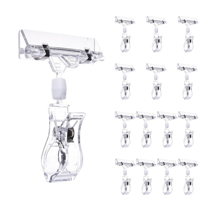 Yescom Rotatable Double Clip Sign Holders Clear Plastic, 15pcs