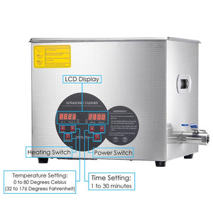 Yescom 10L Stainless Steel Digital Ultrasonic Cleaner Machine