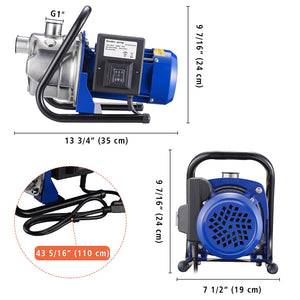 Yescom Water Pump Electric Irrigation Pump Stainless Steel 1.3HP 770gph
