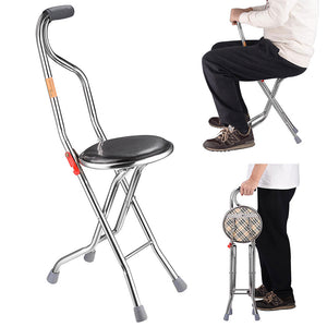 Yescom Medical Folding Walking Cane w/ Seat Lightweight Stool