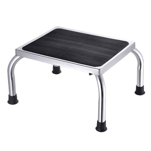 Yescom Medical Single Step Stool Footstool Chrome Steel Non-skid Rubber