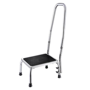 Yescom Medical Single Step Stool Footstool Chrome Steel w/ Handrail