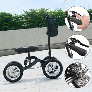 Yescom Folding All-Terrain Knee Walker Scooter Steerable Brake Basket Pump