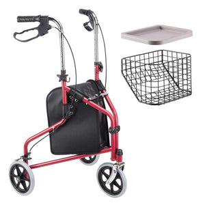 Yescom 3 Wheels Aluminum Rollator Walker w/ Brakes Basket & Bag Color Opt