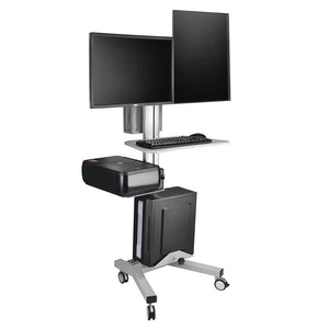 Yescom Office Furniture 2-Monitor PC Mobile Cart Workstation Gray