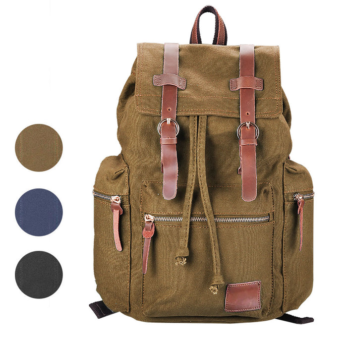 Byootique Vintage Hiking Canvas Backpack Rucksack