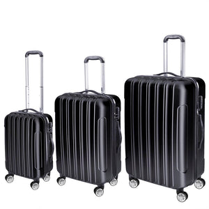 Yescom Carry-on Hardshell Rolling Luggage Sets 3pcs 4-Wheel Black