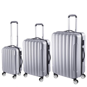 Yescom Carry-on Hardshell Rolling Luggage Sets 3pcs 4-Wheel Silver