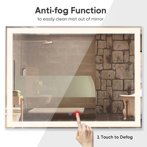 Yescom LED Bathroom Mirror Frameless Anti-Fog Touch Switch 32x24 (Preorder)