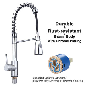 Aquaterior Pull-down Kitchen Sink Faucet 1-Handle Stainless Steel