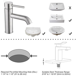 "Aquaterior Bathroom Sink Faucet 1-Handle Cold & Hot, 7.5""H"