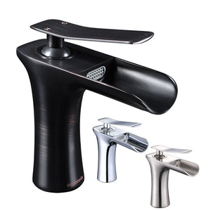 "Aquaterior Waterfall Bathroom Sink Faucet 1-Handle Cold & Hot, 6.5""H"