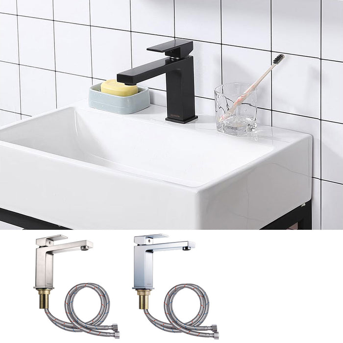 Aquaterior Bathroom Sink Faucet Square 1-Handle Cold & Hot