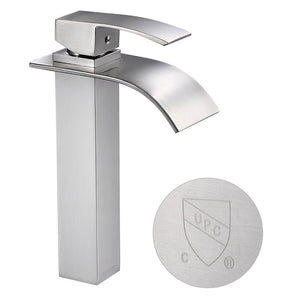 "Aquaterior Waterfall Vessel Faucet Square 1-Handle Cold & Hot 10""H"