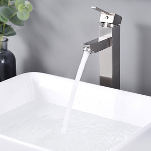 "Aquaterior Bathroom Vessel Faucet Square Cold & Hot 12""H"