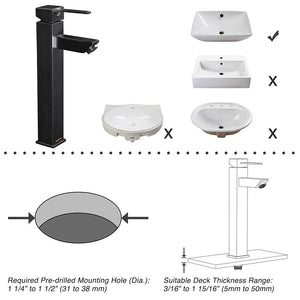 "Aquaterior Bathroom Sink Faucet Square Cold & Hot 12""H"