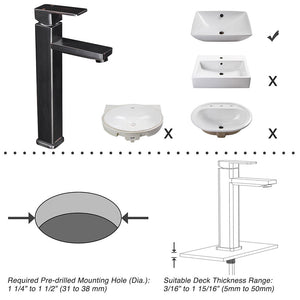 "Aquaterior Bathroom Vessel Faucet Square Cold & Hot 11.8""H"