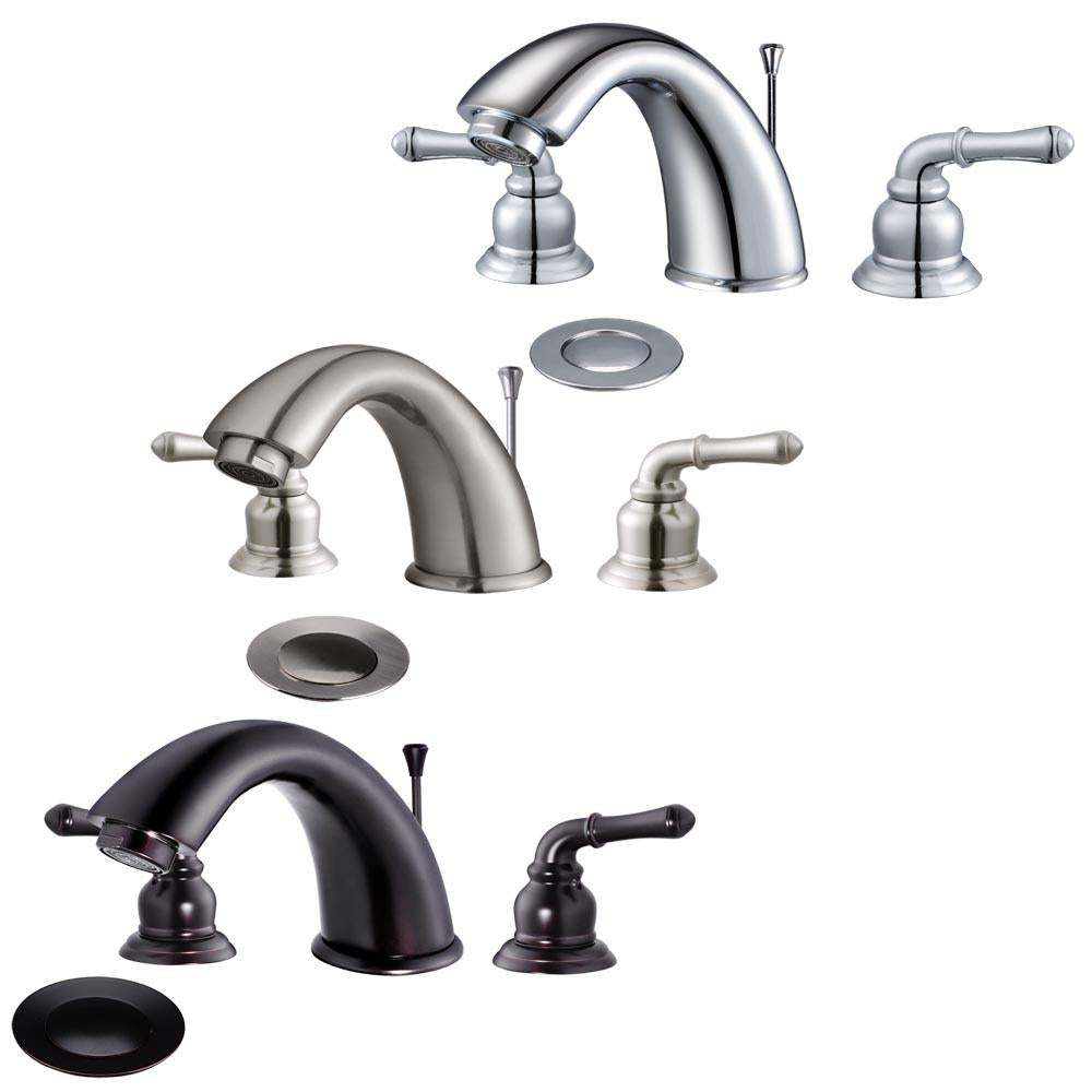 CUPC AB1953 Certified Yescom Widespread Bathroom Sink Faucet 3 Hole with Pop-Up Drain 2 Handles Tap Brushed Nickel
