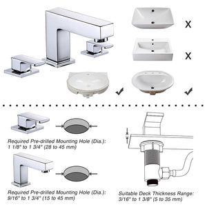"Aquaterior Widespread Faucet 3-Hole 2-Handle Cold Hot 4""H"
